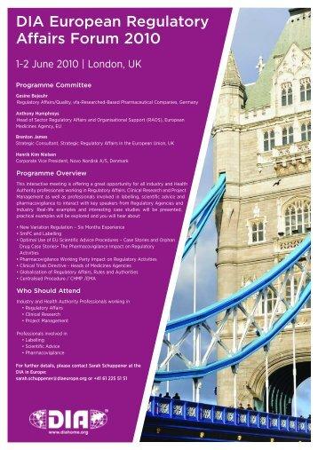 DIA European Regulatory Affairs Forum 2010 - SwAPP