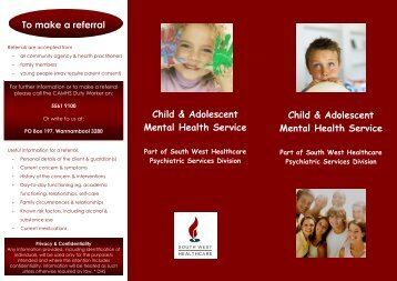 Child & Adolescent Mental Health Service Child & Adolescent ...