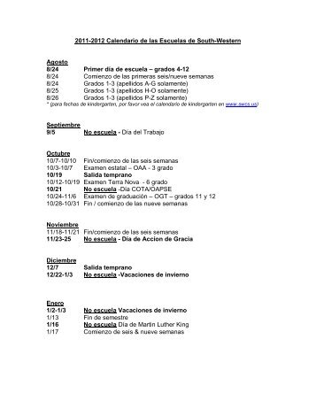 2011-2012 Calendario de las Escuelas de South-Western Agosto 8 ...