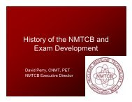 History of the NMTCB and Exam Development - Southwestern ...
