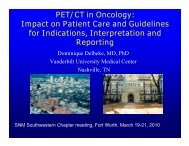 PET/CT in Oncology - Southwestern Chapter of the SNM
