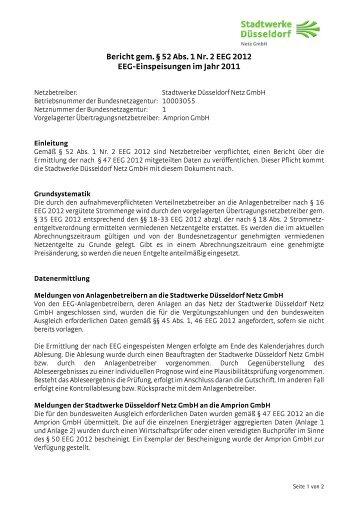 Bericht über EEG-Einspeisungen - Stadtwerke Düsseldorf Netz GmbH