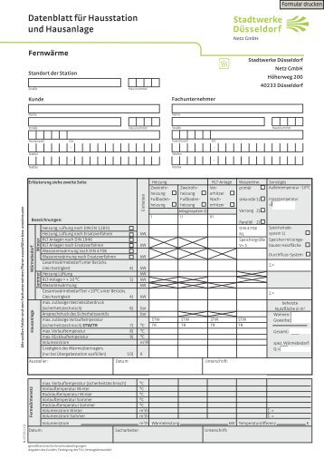 Datenblatt für Hausstation und - Stadtwerke Düsseldorf Netz GmbH