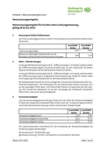 Preisblatt Netzentgelte - Stadtwerke Düsseldorf Netz GmbH