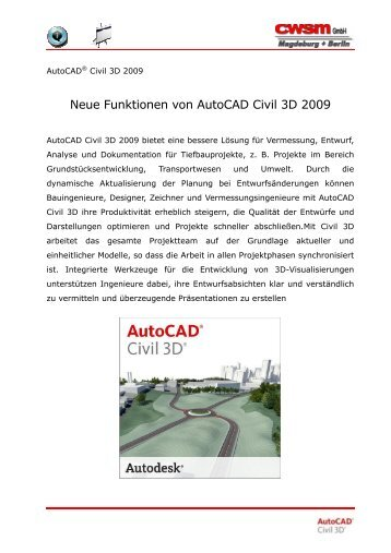 Neue Funktionen von Autocad Civil 3D 2009 - CWSM Gmbh