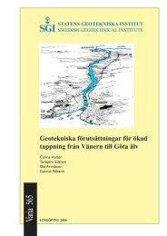 Geotekniska förutsättningar för ökad tappning från Vänern till Göta älv
