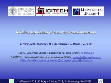 Alkaline activation of ceramic waste materials