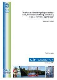 GÄU - delrapport 31 - SGI. Swedish Geotechnical Institute