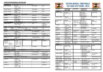 Term 1 class timetable montfort secondary school for Extra mural classes