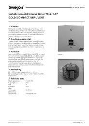Installation elektronisk timer TBLZ-1-47 GOLD/COMPACT ... - Swegon