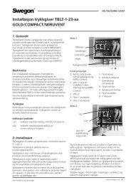 Installasjon trykkgiver TBLZ-1-23-aa GOLD/COMPACT ... - Swegon