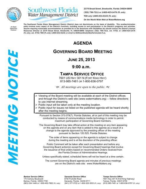 agenda - Southwest Florida Water Management District