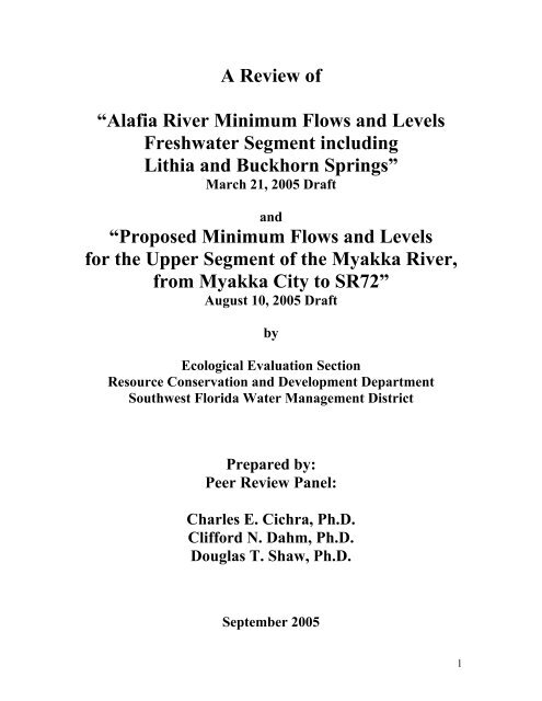 Review of Alafia River MFLs - Southwest Florida Water Management ...