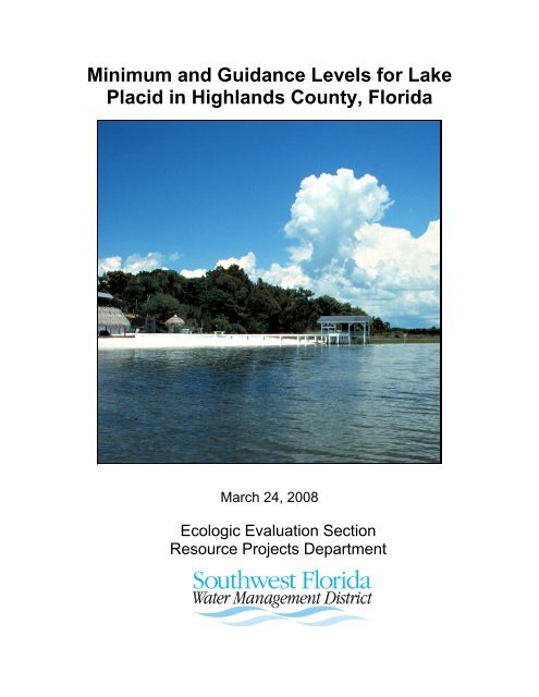 Proposed Minimum and Guidance Levels - Southwest Florida Water ...