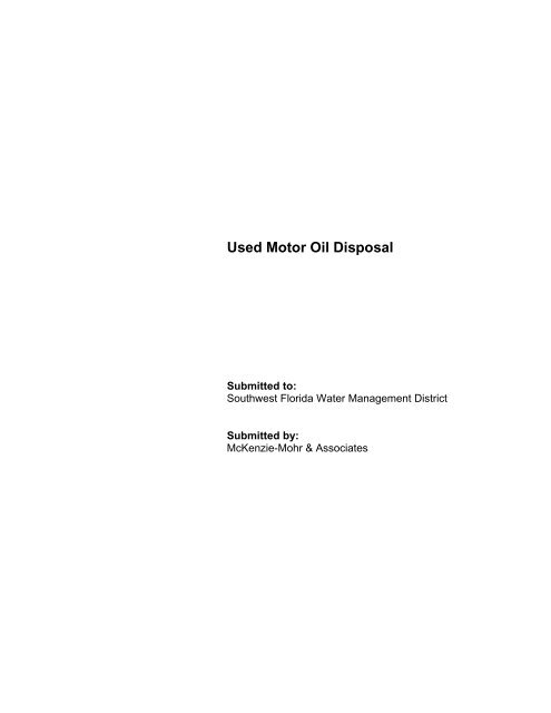 Used Motor Oil Disposal - Southwest Florida Water Management ...