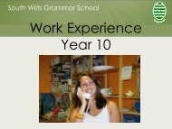 Work Experience Year 10 - South Wilts Grammar School for Girls