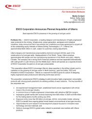 ESCO Corporation Announces Planned Acquisition of Ulterra