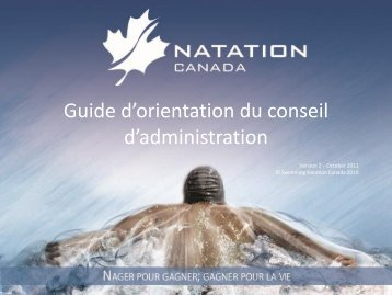 Guide d'orientation du conseil d'administration - Swimming Canada