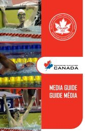 MEDIA GUIDE GUIDE MÉDIA - Swimming Canada