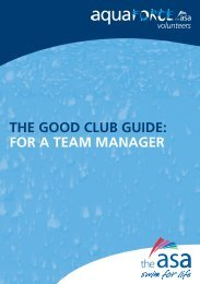 THE GOOD CLUB GUIDE: FOR A TEAM MANAGER - Swim Wales