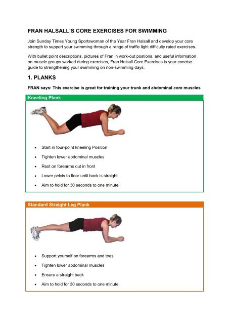 Fran Halsall S Core Exercises For Swimming Org