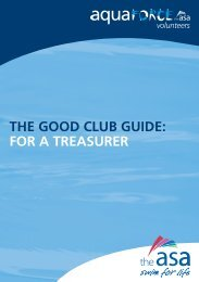 THE GOOD CLUB GUIDE: FOR A TREASURER - Swim Wales