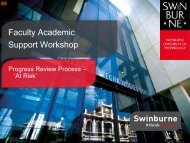 Faculty Academic Support Workshop - Swinburne University of ...
