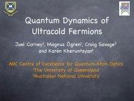 Quantum Dynamics of Ultracold Fermions - Swinburne University of ...