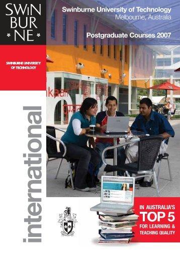 2007 Swinburne Postgraduate Course Guide - Swinburne University ...