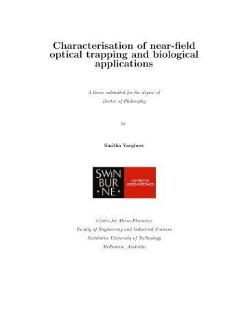 Characterisation of near-field optical trapping and biological ...
