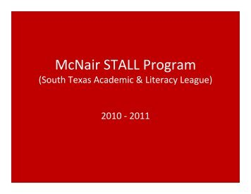 McNair STALL Program - Southwest ISD