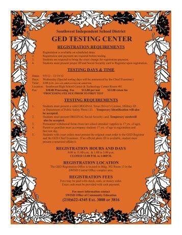 GED TESTING CENTER - Southwest ISD