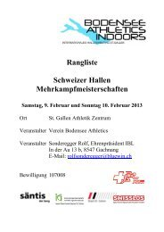 Rangliste - Swiss Athletics