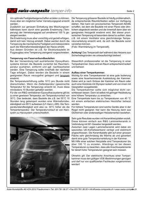 Temperung von Epoxydharzen - Suter Swiss-Composite Group