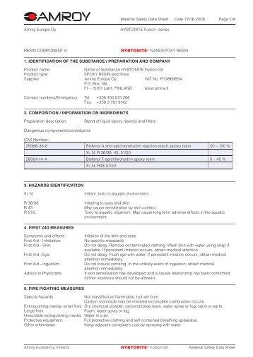 Material Safety Data Sheet Date 12.06.2008 - Suter Swiss ...
