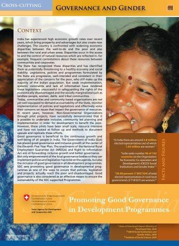 Promoting Good Governance in Development Programmes