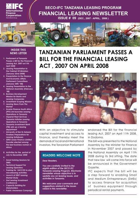financial leasing act 2008 tanzania
