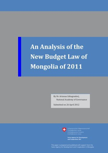 An Analysis of the New Budget Law of Mongolia of 2011