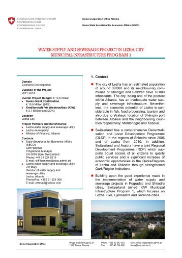 Water Supply and Sewerage Project in Lezha City ... - admin.ch