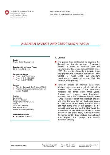 ALBANIAN SAVINGS AND CREDIT UNION (ASCU)