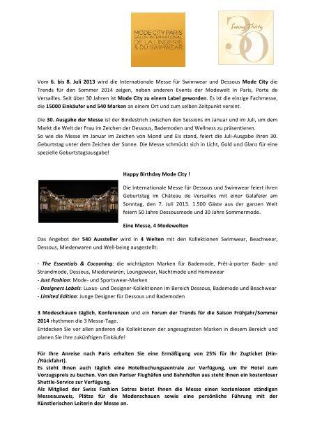 Vom 6. bis 8. Juli 2013 wird die Internationale Messe für