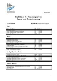 Richtlinien für Änderungspreise - Swiss Fashion Stores