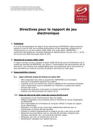 Directives pour le rapport de jeu électronique - Swiss Ice Hockey