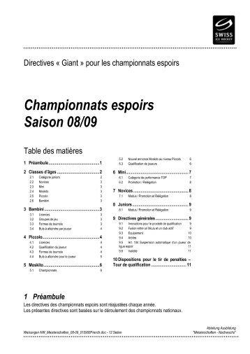 Championnats espoirs Saison 08/09 - Swiss Ice Hockey