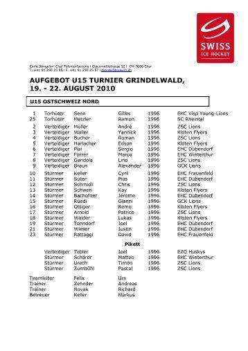 Aufgebot U15 Grindelwald 2010-2011 - Swiss Ice Hockey