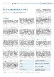La dermatite atopique de l'enfant - Société suisse de pédiatrie