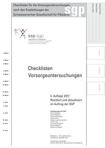 Checklisten Vorsorgeuntersuchungen