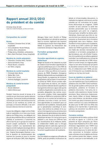 Rapport annuel 2012/2013 du président et du comité