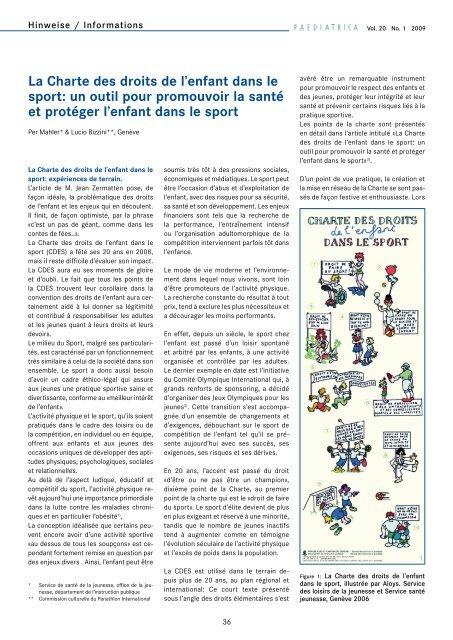 La Charte des droits de l'enfant dans le sport - Société suisse de ...