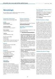 Néonatologie - Société suisse de pédiatrie